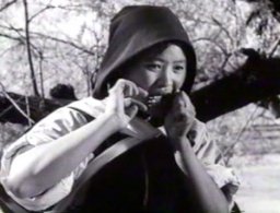 """Naxi woman playing a mouth harp."""
