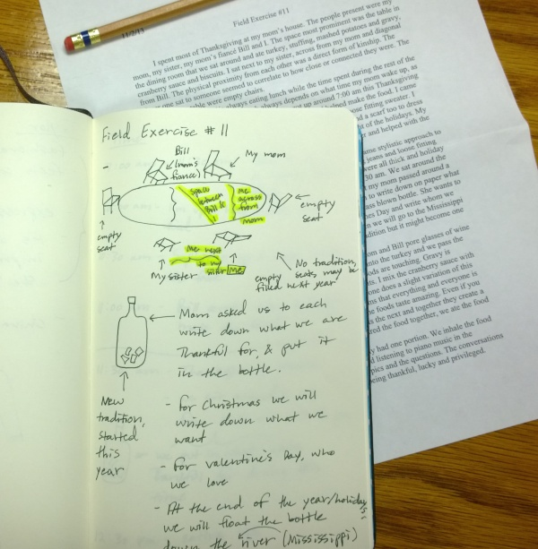 Notes. Drawings. Writeup. (Introduction to Anthropology, Fall 2013)