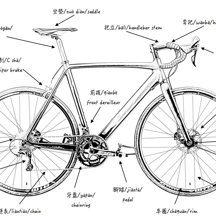chinese bicycle parts diagram