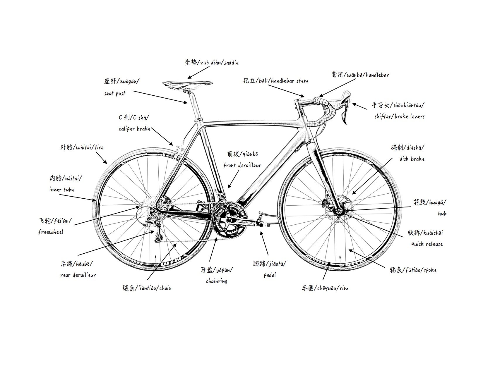 chinese bicycle parts diagram museum fatigue rh museumfatigue org Bicycle Drawing Bicycle Components Diagram